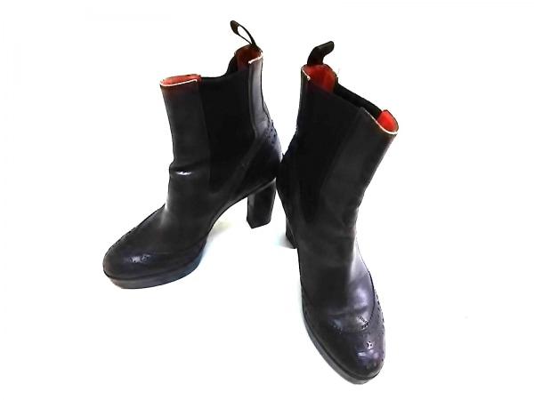SANTONI(サントーニ) ショートブーツ 35 レディース 黒 サイドゴア レザー