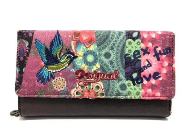 Desigual(デシグアル) 長財布 ダークブラウン×ピンク×マルチ 刺繍 キャンバス×合皮