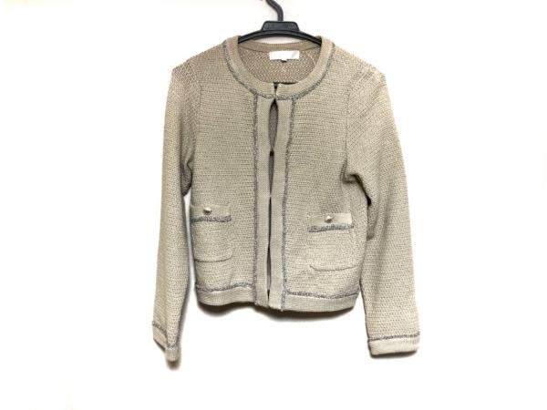 ジユウク ジャケット サイズ38 M レディース美品  ベージュ×シルバー ニット