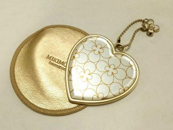ミキモト ミラー美品  アイボリー×ゴールド ハート 金属素材×プラスチック