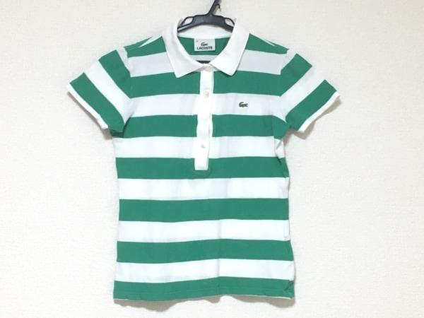 ラコステ 半袖ポロシャツ サイズ38 M レディース美品  白×グリーン ボーダー