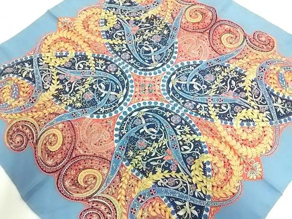 ラルフローレンコレクション パープルレーベル スカーフ美品  ライトブルー×マルチ