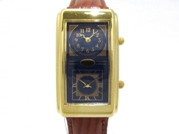 GUESS(ゲス) 腕時計美品  - レディース ネイビー×ゴールド