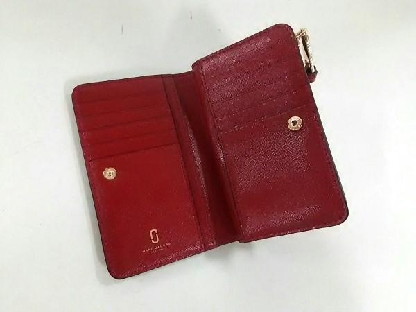 MARC JACOBS(マークジェイコブス) 2つ折り財布美品  黒×ボルドー エナメル(レザー)