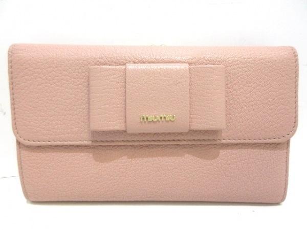 miumiu(ミュウミュウ) 3つ折り財布 - 5ME120 ベージュ リボン/がま口 レザー