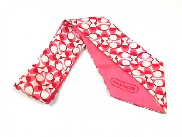 COACH(コーチ) スカーフ シグネチャー柄 白×ピンク×レッド リボンスカーフ