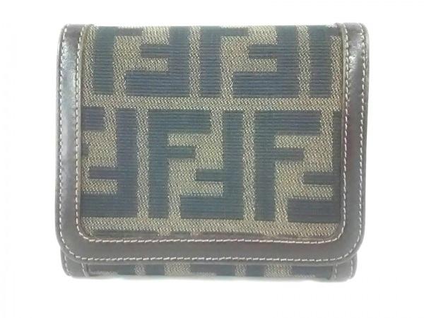 FENDI(フェンディ) 3つ折り財布 ズッカ柄 - ライトブラウン×黒×ダークブラウン
