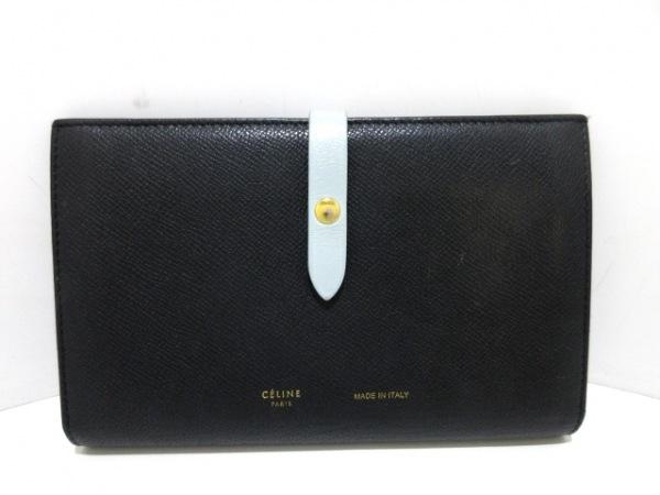セリーヌ 財布美品  ストラップラージマルチファンクション 黒×ライトブルー レザー