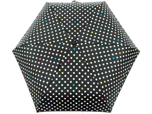 レスポートサック 折りたたみ傘新品同様  黒×白×マルチ ドット柄 化学繊維