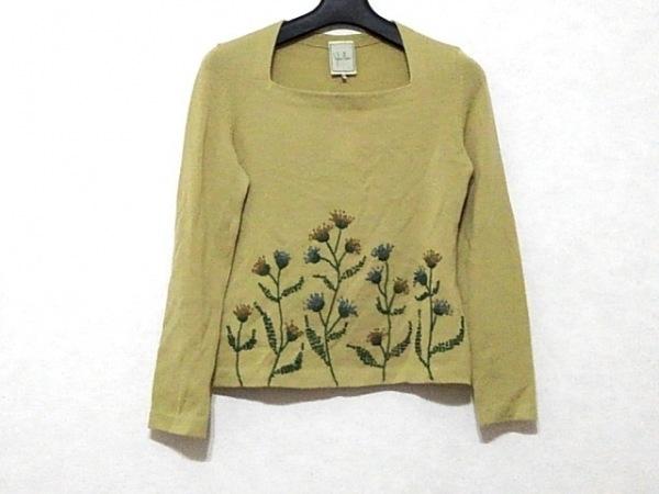 シビラ 長袖セーター サイズM レディース美品  カーキ×マルチ 刺繍/フラワー