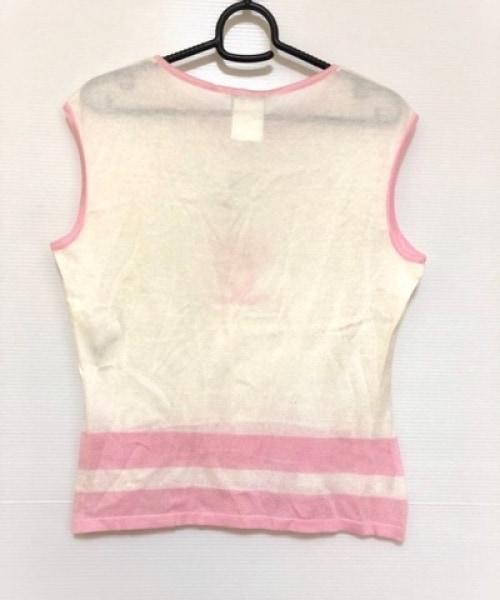 シャネル ノースリーブセーター サイズ42 L レディース 白×ピンク ココマーク