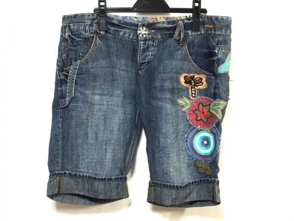 デシグアル ジーンズ サイズ42 XS メンズ ネイビー×マルチ パッチワーク/刺繍/ビーズ