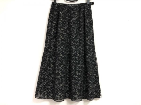 Leilian(レリアン) ロングスカート サイズ9 M レディース 黒 ドット柄/花柄