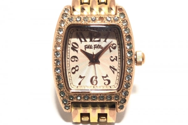 フォリフォリ 腕時計 WF5R142BP レディース ラインストーンヘゼル ゴールド