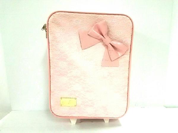LIZLISA(リズリサ) キャリーバッグ美品  ピンク レース ナイロン×エナメル(合皮)