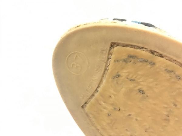 カスタニエール サンダル 37 レディース 黒×ブルー×マルチ ウェッジソール コットン