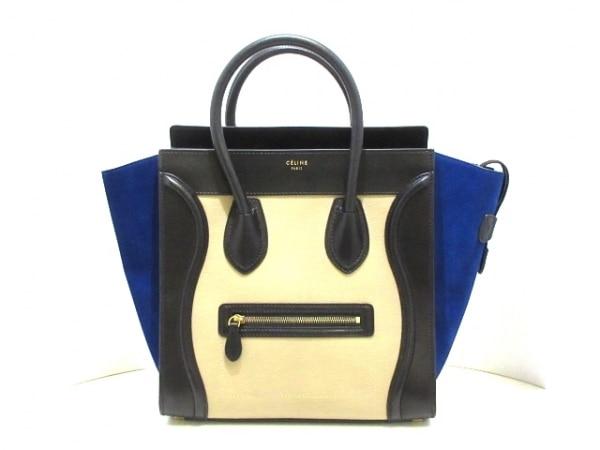 CELINE(セリーヌ) ハンドバッグ ラゲージミニショッパー ベージュ×黒×ブルー