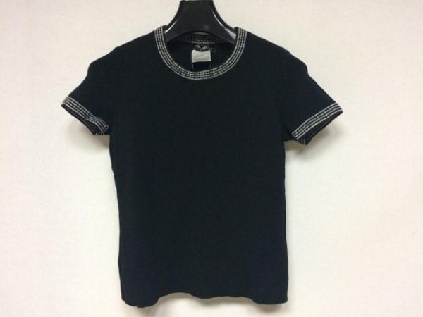 CHANEL(シャネル) 半袖セーター サイズ36 S レディース美品  黒×アイボリー