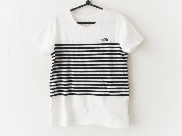 ノースフェイス 半袖Tシャツ サイズL レディース 白×ダークネイビー ボーダー