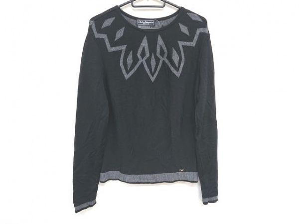 サルバトーレフェラガモ 長袖セーター サイズM レディース美品  黒×グレー