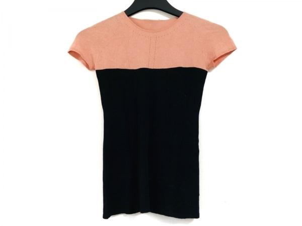 CHANEL(シャネル) 半袖セーター サイズ38 M レディース 黒×ピンク バイカラー