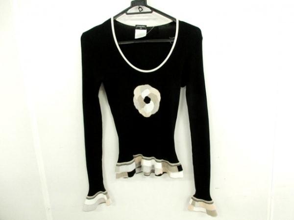 CHANEL(シャネル) 長袖セーター サイズ36 S レディース 黒×グレージュ×マルチ