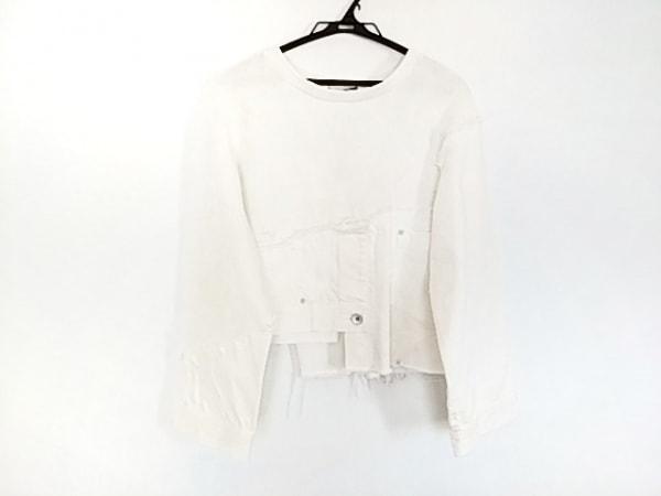 AULA(アウラ) 長袖カットソー サイズ0 XS レディース美品  白 変形デザイン