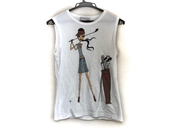 CELINE(セリーヌ) ノースリーブTシャツ サイズM レディース美品  アイボリー×マルチ