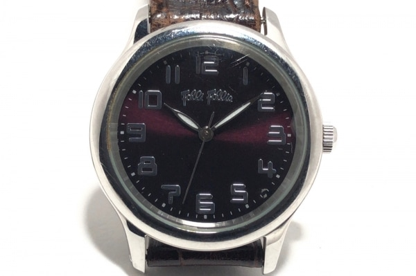 FolliFollie(フォリフォリ) 腕時計 - レディース 革ベルト ダークブラウン
