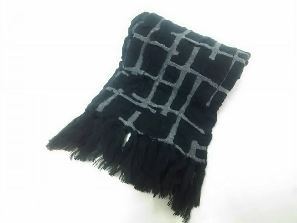 SOU・SOU(ソウソウ) マフラー美品  黒×グレー アクリル×ナイロン×毛
