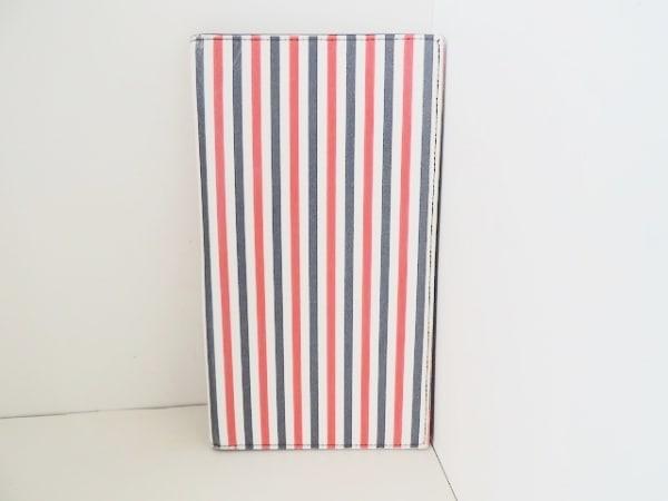 THOM BROWNE(トムブラウン) 札入れ 白×黒×レッド ボーダー レザー