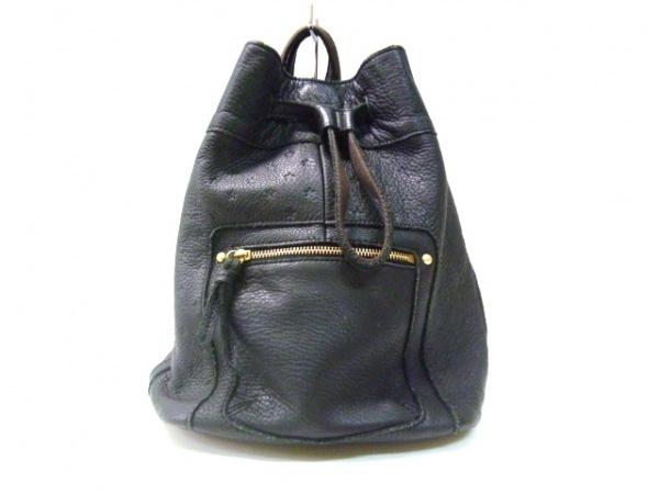 Beaure(ビュレ) リュックサック 黒 巾着型/2way/型押し加工 レザー