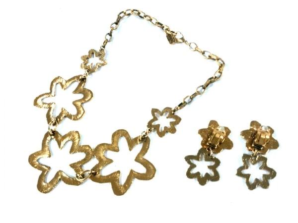 イマック アクセサリー 金属素材 ゴールド ネックレス&イヤリングセット/フラワー