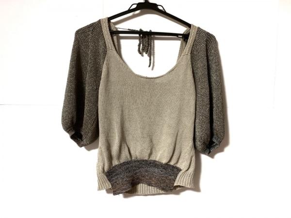 ANTIPAST(アンティパスト) 七分袖セーター レディース ベージュ×シルバー×マルチ