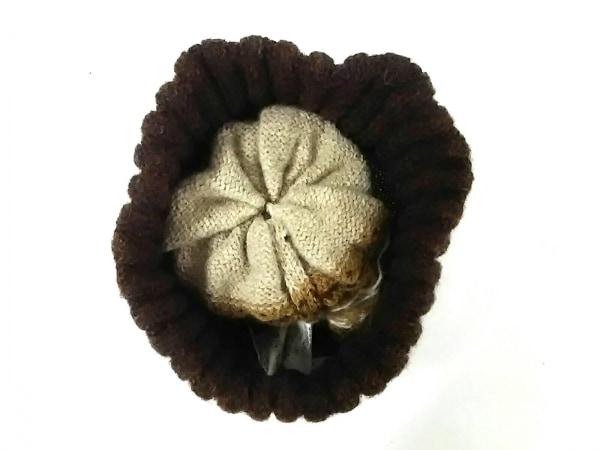 ミナペルホネン ニット帽美品  ブラウン×ダークブラウン×マルチ ウール