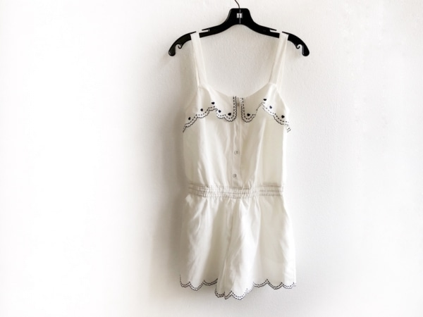 シークレットハニー オールインワン サイズ2 M レディース 白×黒 刺繍/ハート
