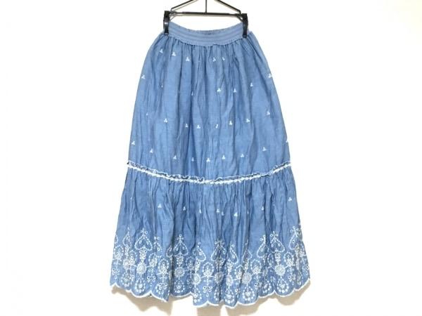 シークレットハニー ロングスカート サイズ2 M レディース美品  ライトブルー×白