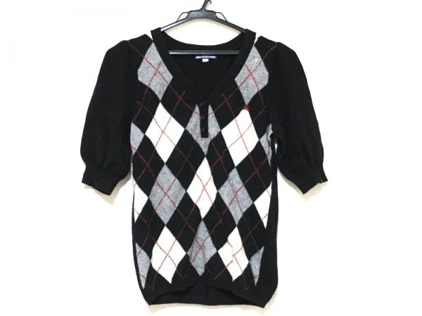 バーバリーブルーレーベル 半袖セーター サイズ38 M レディース 黒×グレー×マルチ