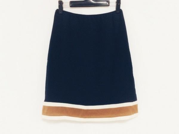 プラダ スカート サイズ40 M レディース ネイビー×アイボリー×ブラウン シルク