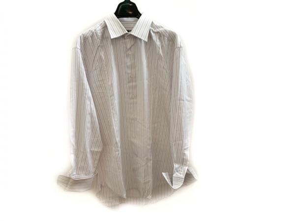 LANVIN(ランバン) 長袖シャツ メンズ美品  白×パープル×ピンク ストライプ