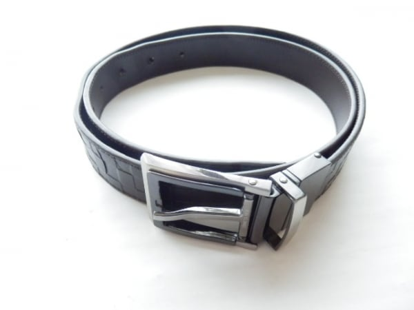 COMME CA MEN(コムサメン) ベルト シルバー 型押し加工 レザー×金属素材