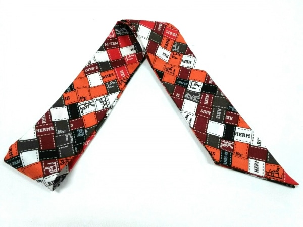 HERMES(エルメス) スカーフ美品  ツィリー オレンジ×黒×マルチ