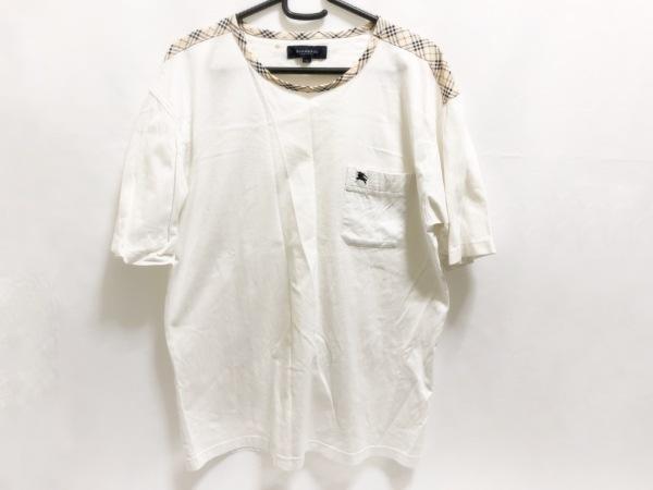 Burberry LONDON(バーバリーロンドン) 半袖Tシャツ メンズ美品  白×ベージュ×マルチ