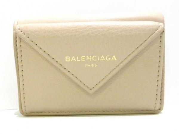 バレンシアガ 3つ折り財布美品  ペーパーミニウォレット 391446 ベージュ レザー