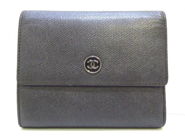 CHANEL(シャネル) 3つ折り財布美品  ココボタン ダークグレー レザー