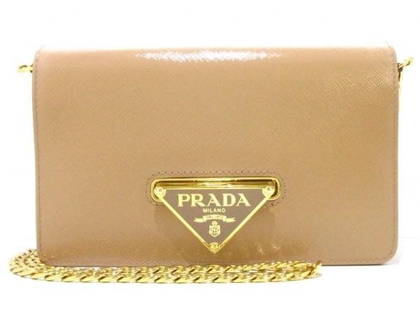 プラダ 財布新品同様  - 1BP012 ベージュ チェーンウォレット サフィアーノヴェルニ