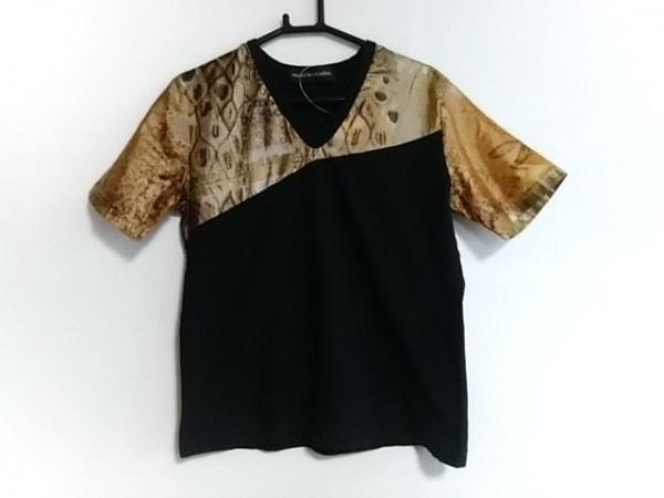マサキマツシマ 半袖Tシャツ サイズ2 M レディース 黒×ブラウン×マルチ