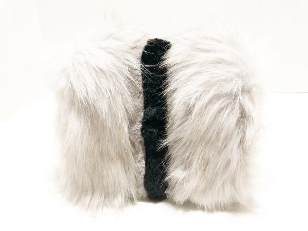 MURUA(ムルーア) ショルダーバッグ美品  ライトグレー×黒 フェイクファー×合皮