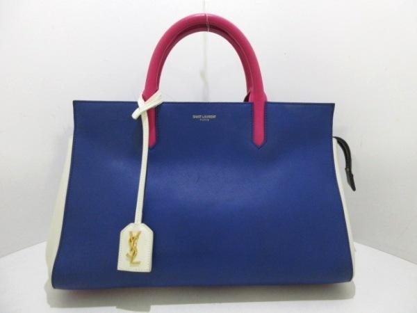 サンローランパリ ハンドバッグ カバ・リヴゴーシュ 400413 ブルー×ピンク×白