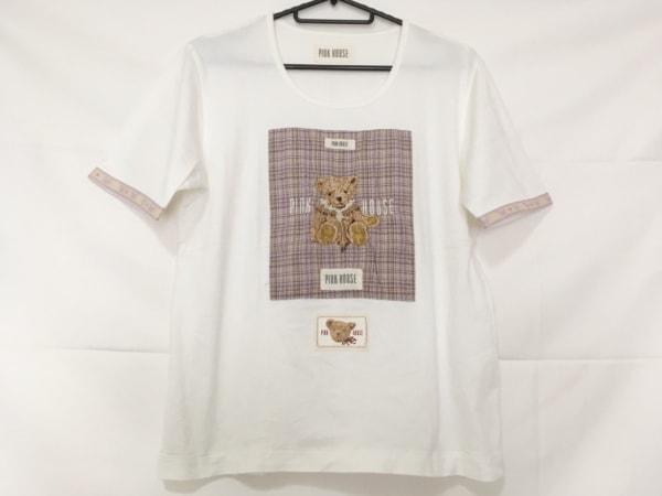 ピンクハウス 半袖カットソー サイズL レディース美品  チェック柄/刺繍/クマ